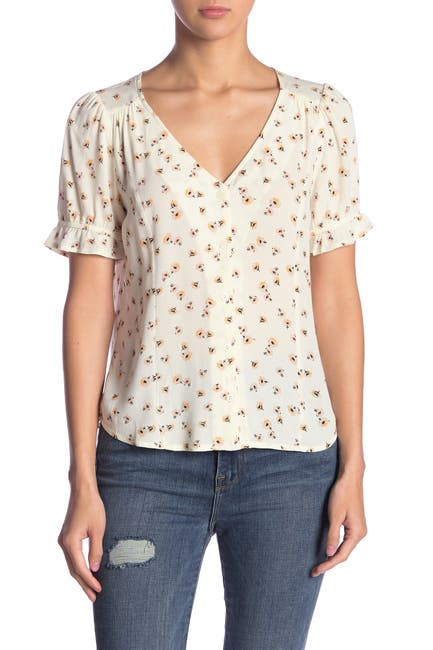 Image of Elodie Ruffle Trim Sleeve Printed Blouse