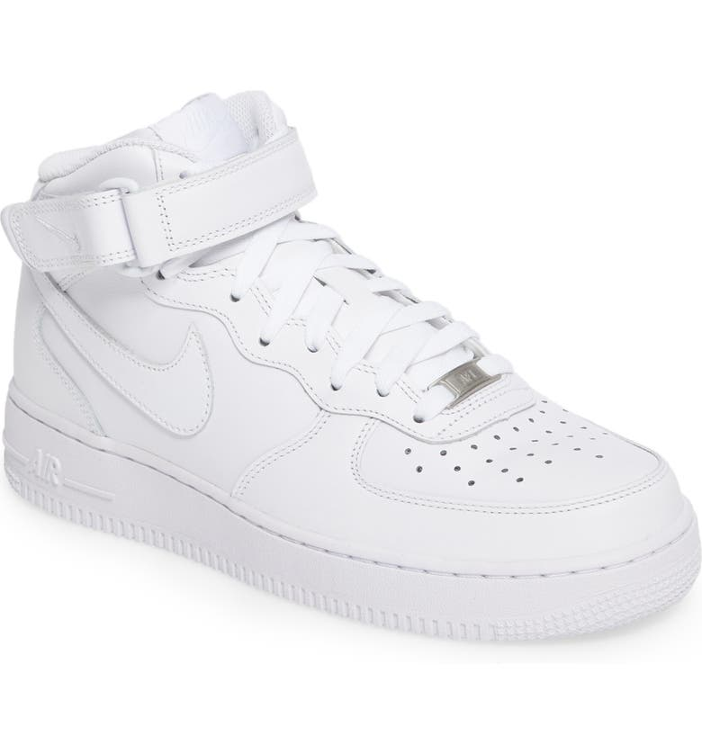 NIKE Air Force 1 Mid '07 Sneaker, Main, color, WHITE/ WHITE