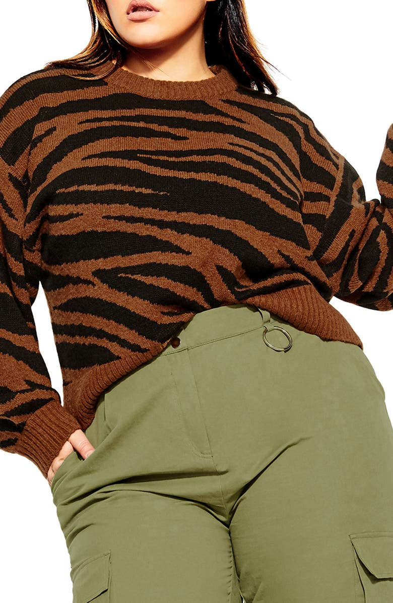 CITY CHIC Sassy Tiger Sweater, Main, color, GOLD TIGER