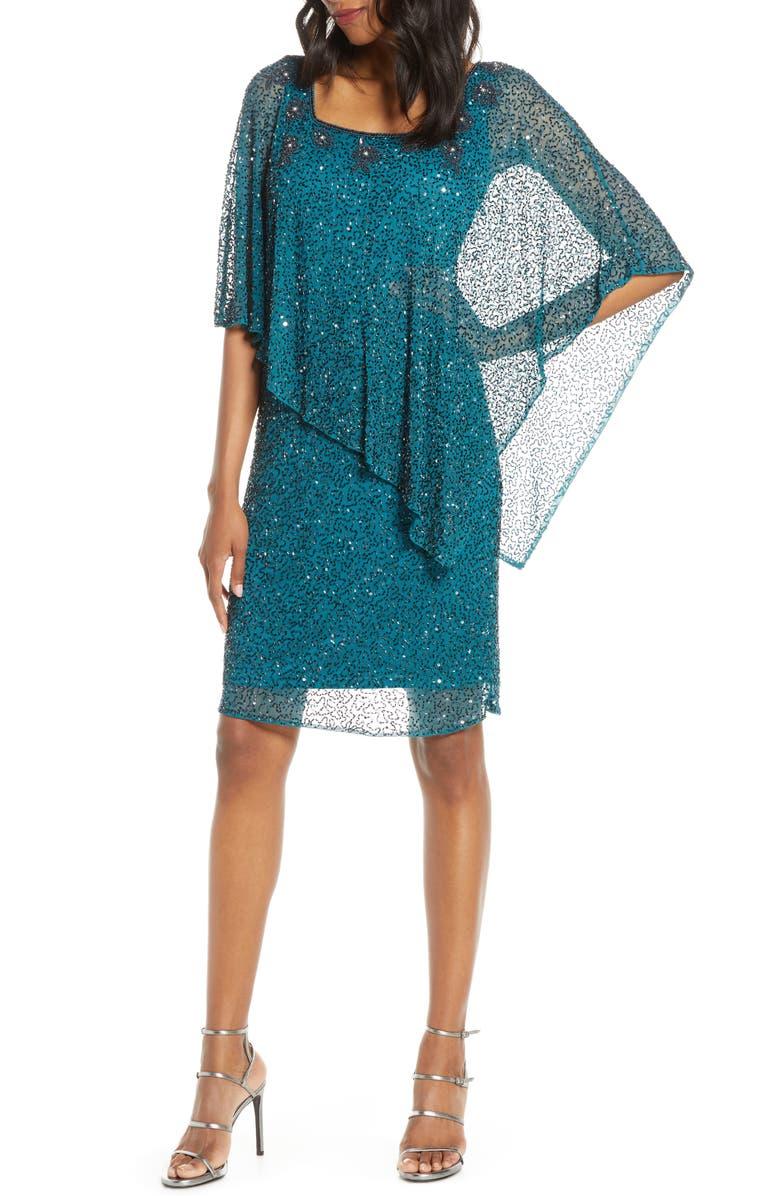 PISARRO NIGHTS Beaded Cape Dress, Main, color, TEAL GLAZE