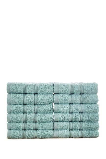 Image of Modern Threads Manor Ridge Turkish Cotton 700 GSM Wash Cloth - Set of 12 - Aqua