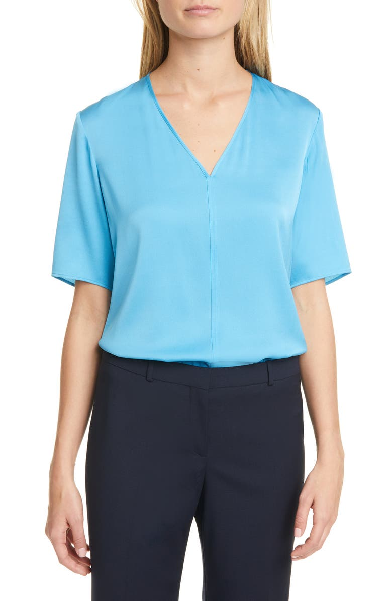 BOSS Ivala 2 Stretch Silk Top, Main, color, 432