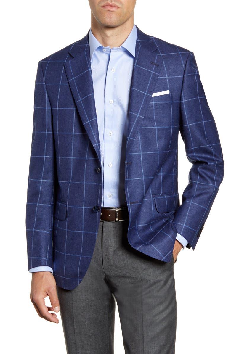 PETER MILLAR Hyperlight Classic Fit Windowpane Wool Blend Sport Coat, Main, color, BLUE