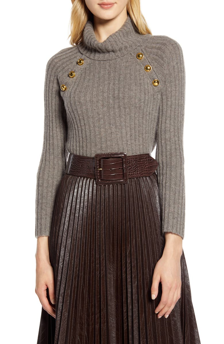 HALOGEN<SUP>®</SUP> x Atlantic-Pacific Button Detail Turtleneck Sweater, Main, color, BROWN LIGHT HEATHER