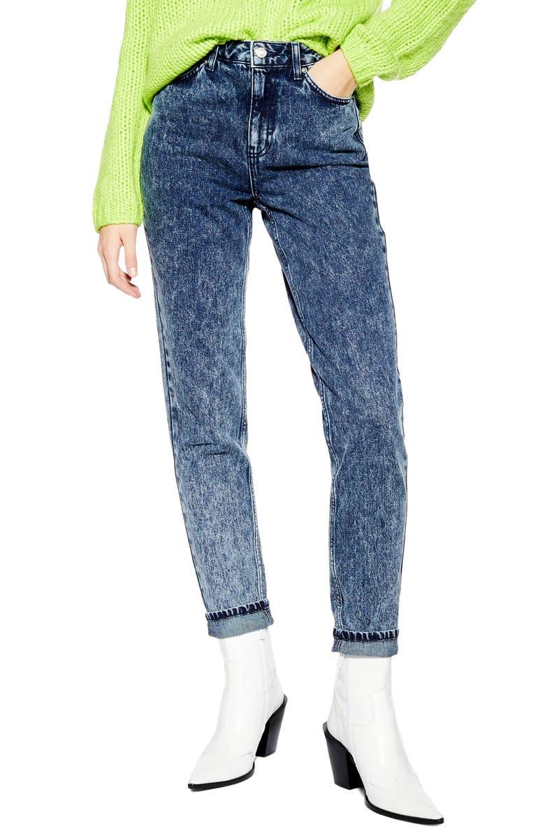TOPSHOP Acid Wash High Waist Mom Jeans, Main, color, 401