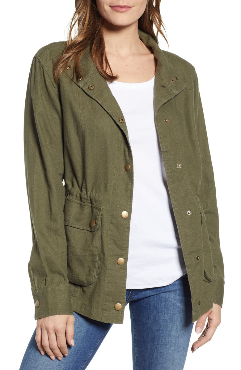 CASLON<SUP>®</SUP> Cinch Waist Linen Blend Utility Jacket, Main, color, 301