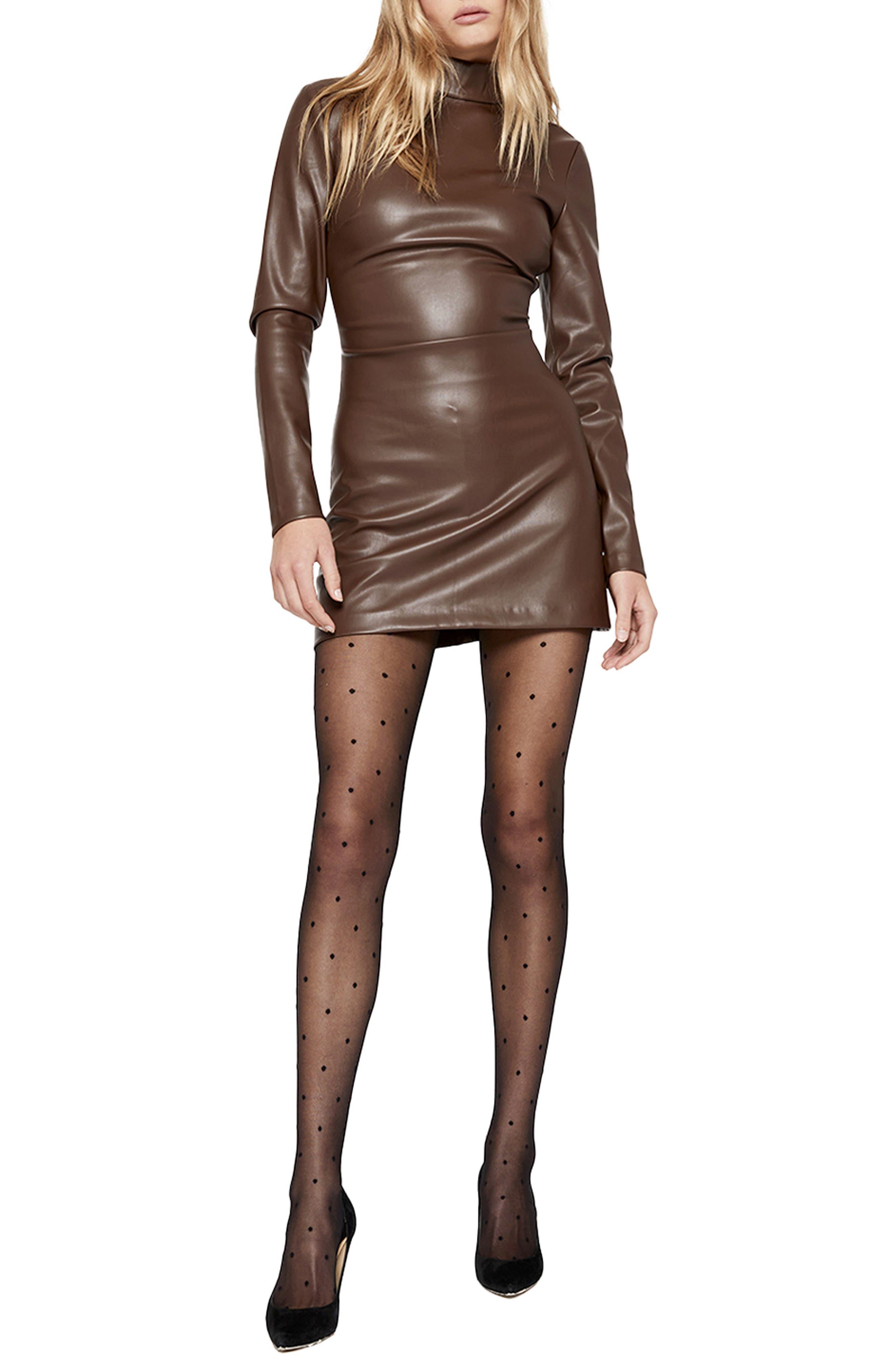 Harley Faux Leather Long Sleeve Minidress