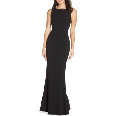 Lulus Mine Backless Trumpet Gown, Black