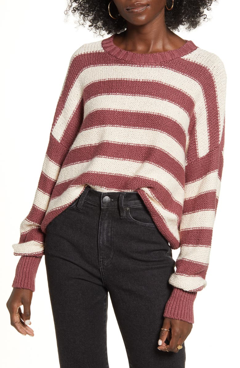 BILLABONG Til Sunset Stripe Sweater, Main, color, COCO BERRY