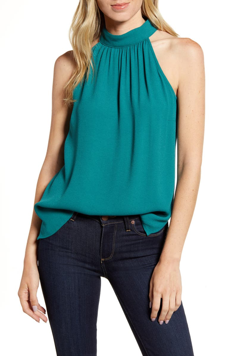 CHELSEA28 Mock Neck Tank, Main, color, GREEN BERRY