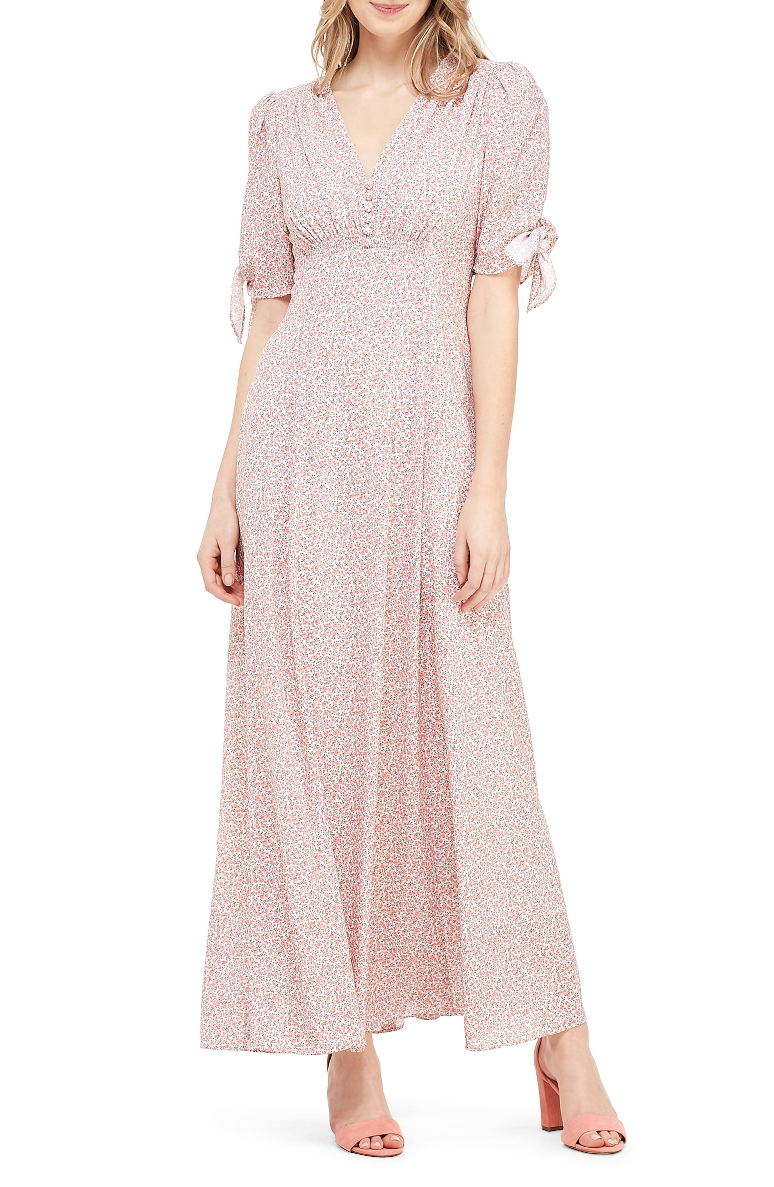 ,                             Ditsy Floral Print Maxi Dress,                             Main thumbnail 1, color,                             PORCELIAN/ PEACH WHISPER