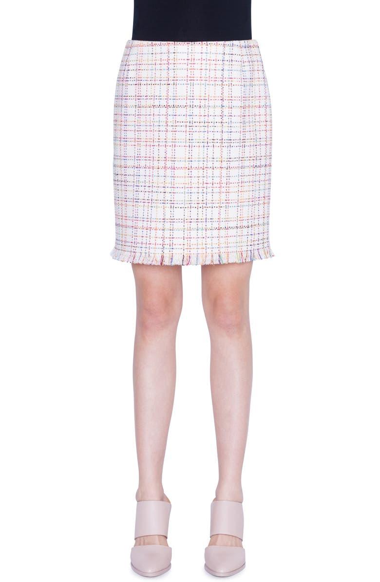 AKRIS PUNTO Tweed Miniskirt, Main, color, CREAM MULTICOLOR LUREX