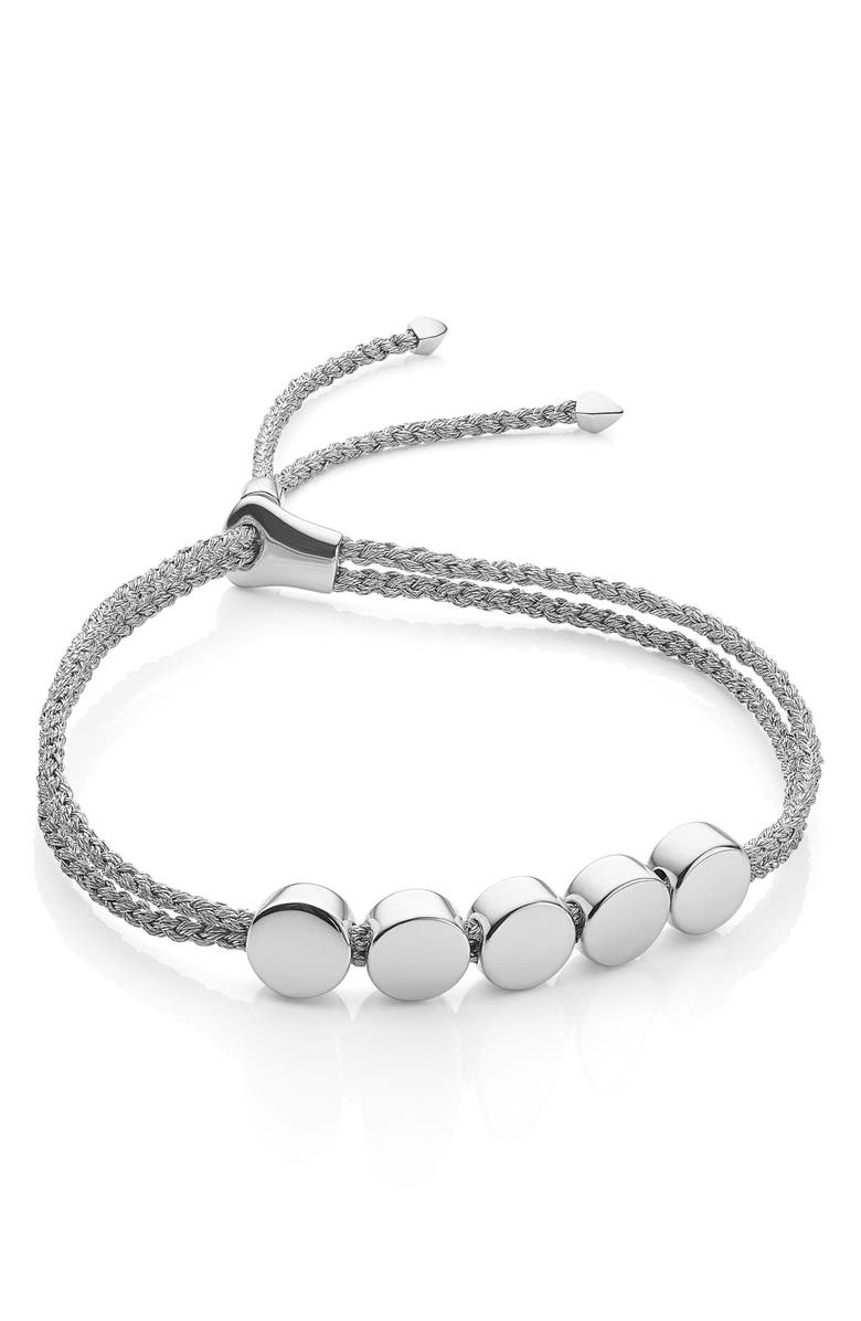 MONICA VINADER Engravable Beaded Friendship Bracelet, Main, color, SILVER METALLICA