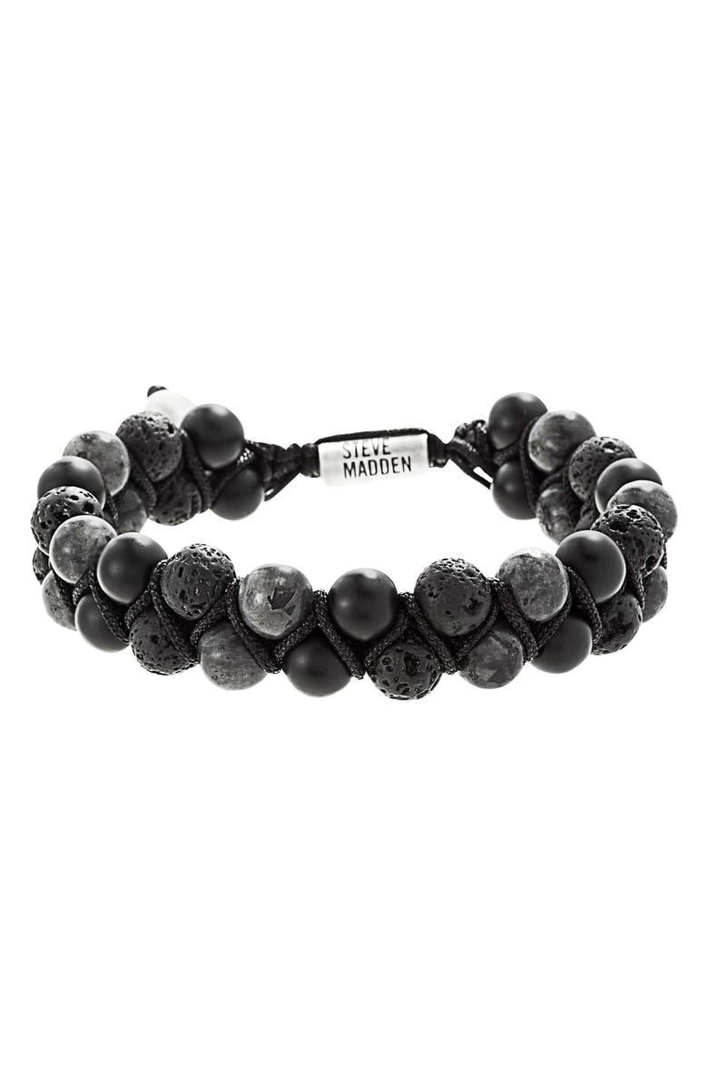 STEVE MADDEN Stone Bead Bracelet, Main, color, ONYX