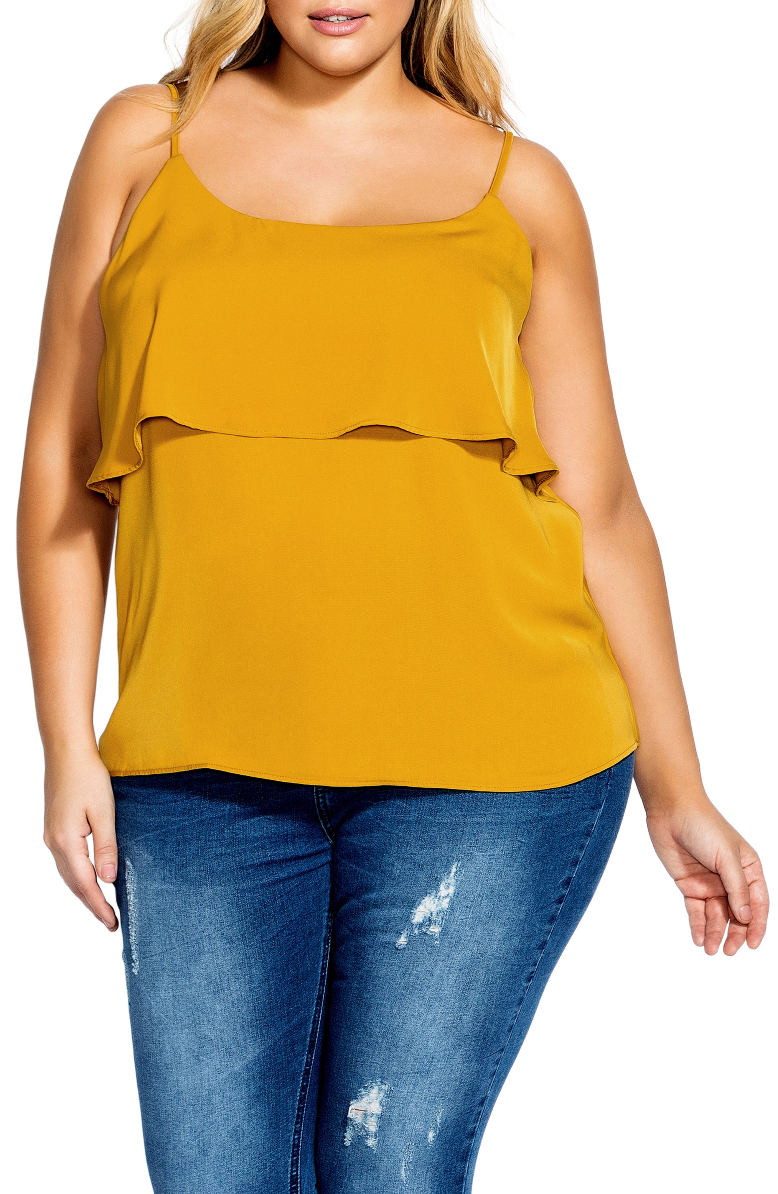 Plus Size City Chic Sweet Tier Camisole, Yellow