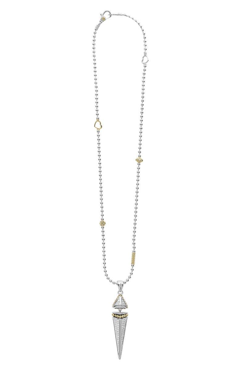 LAGOS KSL Lux Diamond Pyramid Dangle Pendant Necklace, Main, color, 040