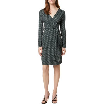 French Connection Cosimo Meadow Floral & Dot Long Sleeve Faux Wrap Dress, Green