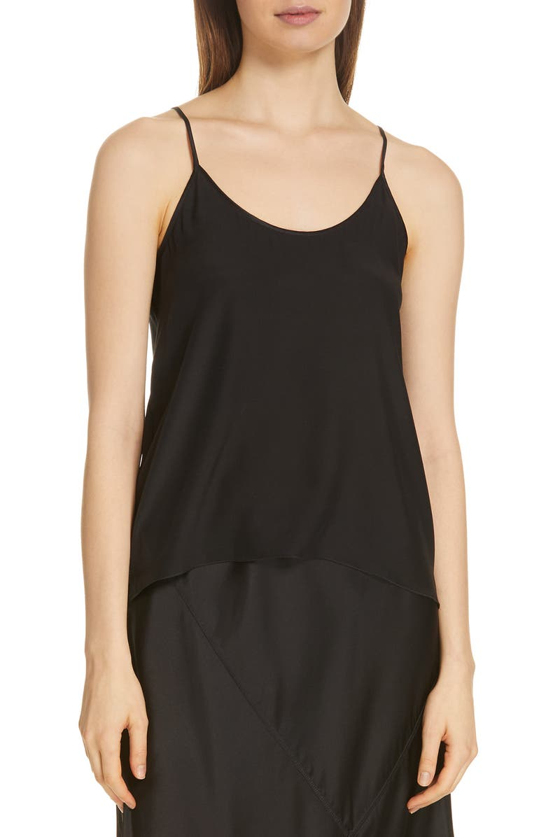 ATM ANTHONY THOMAS MELILLO Silk Charmeuse Camisole, Main, color, BLACK