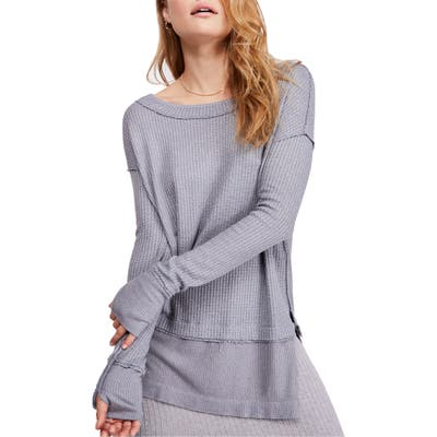 Free People North Shore Thermal Knit Tunic Top, Grey