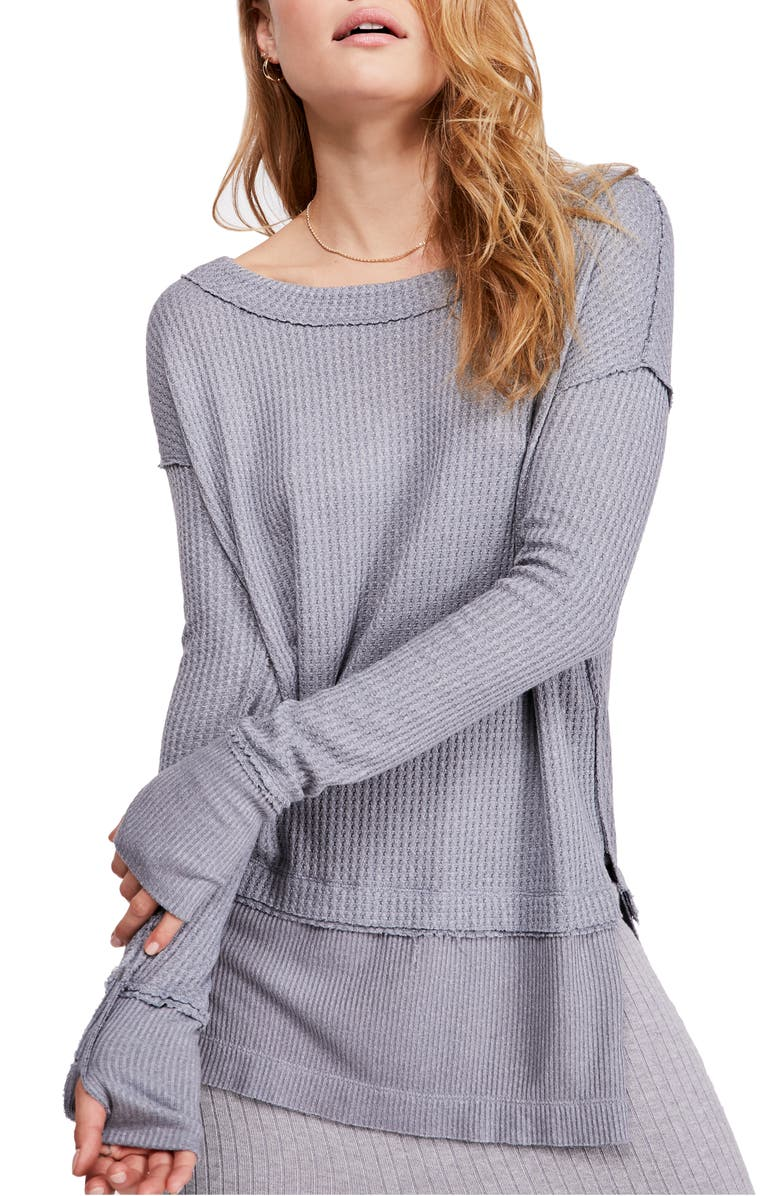 FREE PEOPLE North Shore Thermal Knit Tunic Top, Main, color, STORM GREY