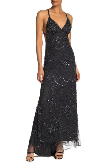 Image of JUMP Beaded Criss-Cross High/Low Gown