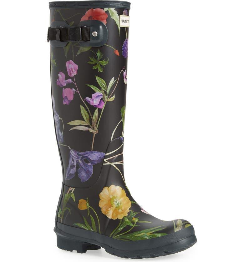 HUNTER 'Royal Horticultural Society' Print Waterproof Rain Boot, Main, color, 001