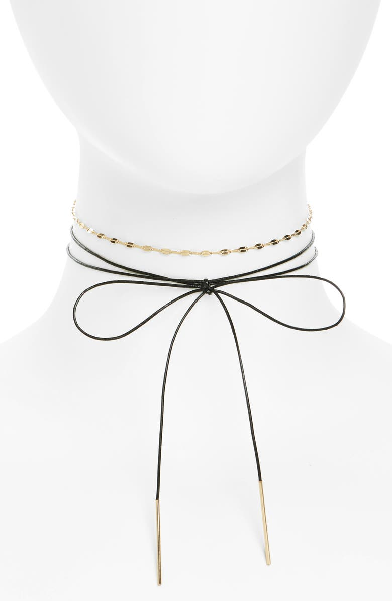 TOPSHOP Bow & Chain Choker, Main, color, 001