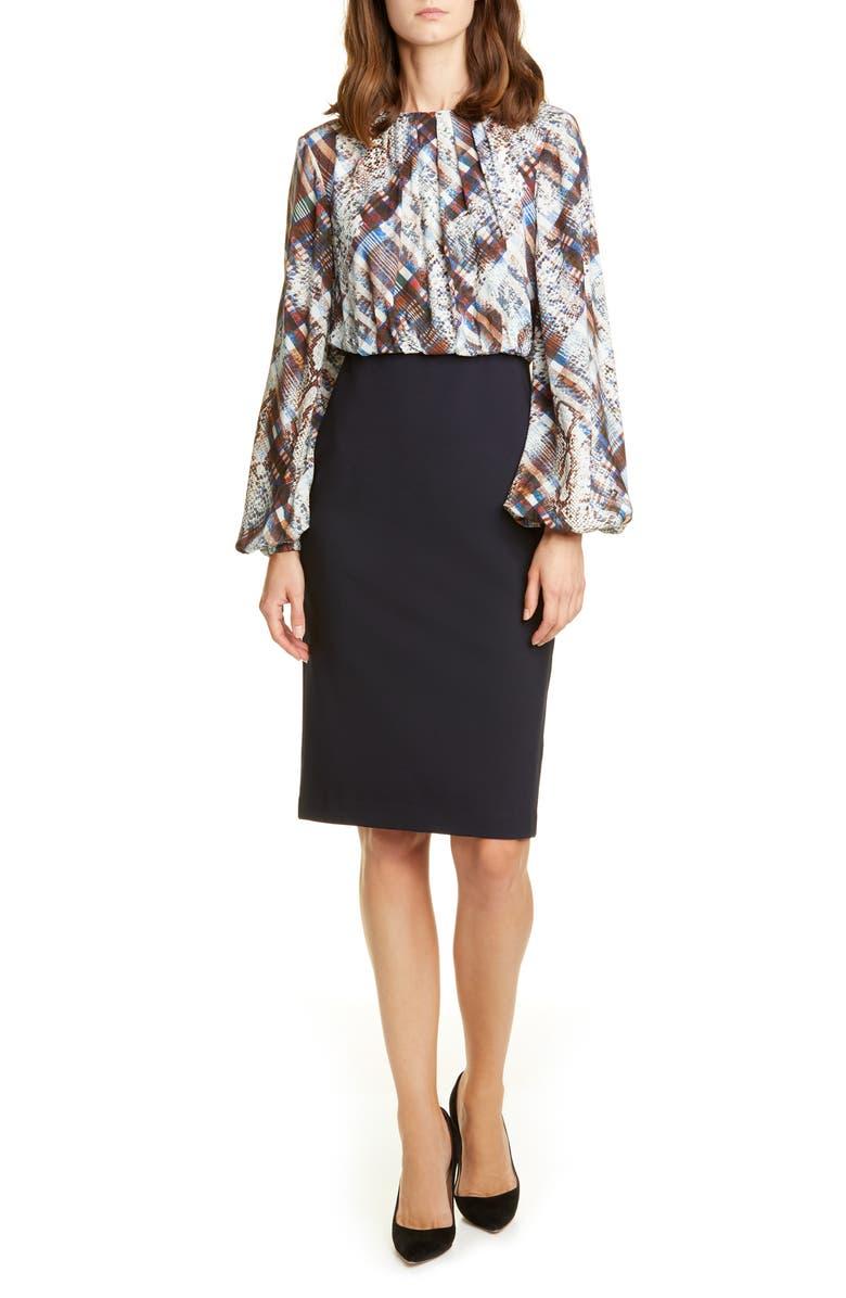 TED BAKER LONDON Caalla Quartz Long Sleeve Dress, Main, color, 402
