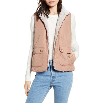 Thread & Supply Wubby Reversible Fleece Lined Quilted Vest, Brown