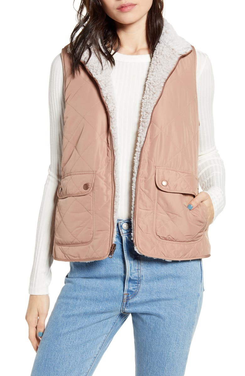 THREAD & SUPPLY Wubby Reversible Fleece Lined Quilted Vest, Main, color, MOCHA