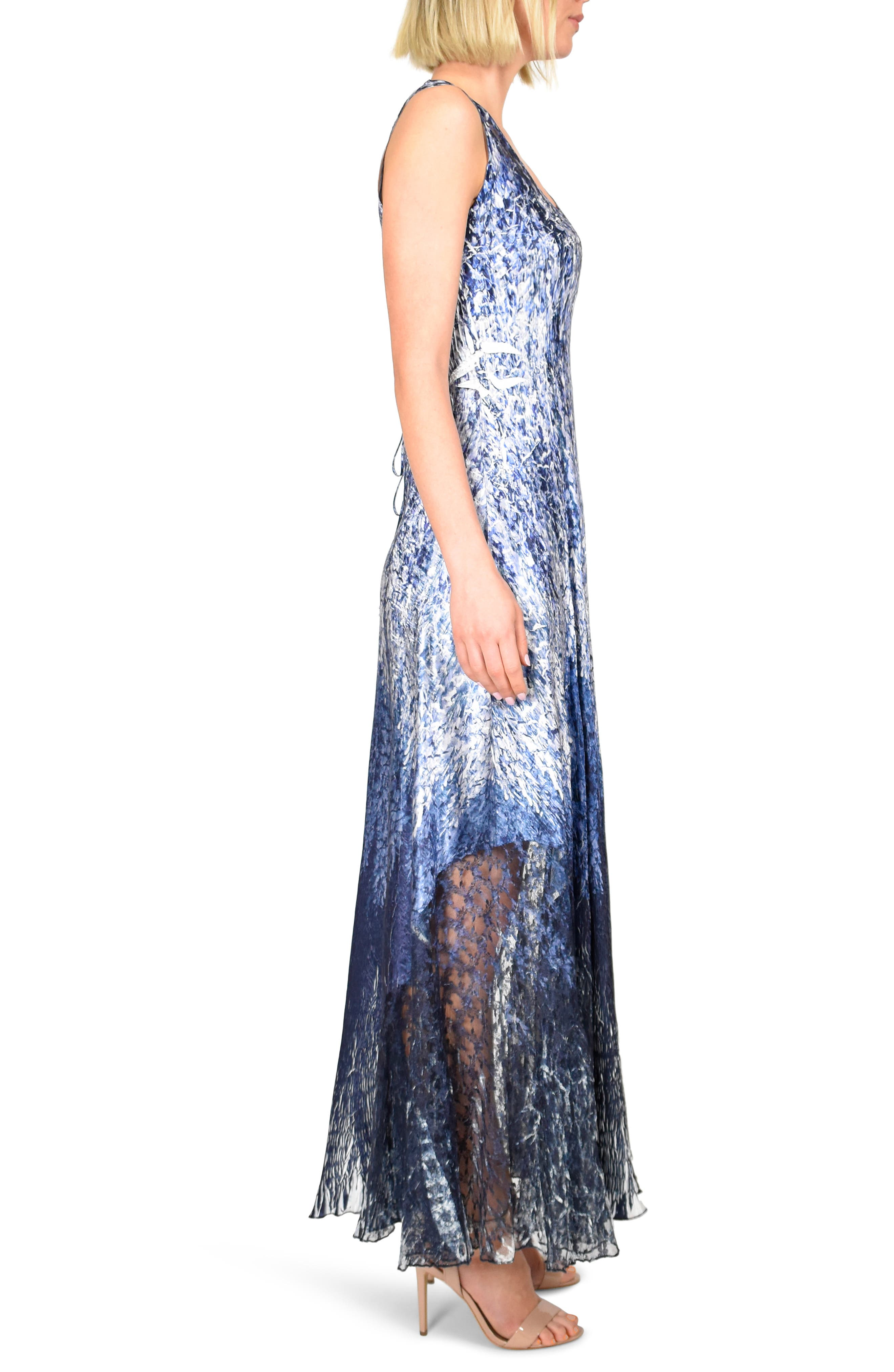,                             Charmeuse Maxi Dress with Wrap,                             Alternate thumbnail 4, color,                             MIDNIGHT FIELDS