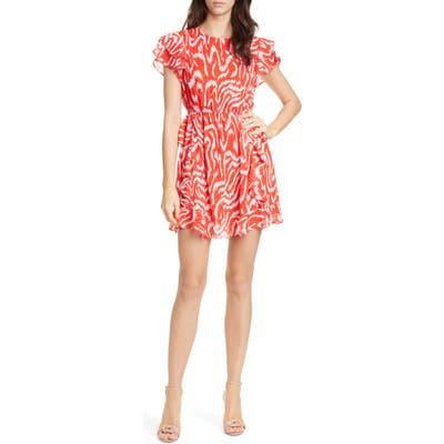 Dolan Julia Clip Dot Jacquard Chiffon Dress, Red