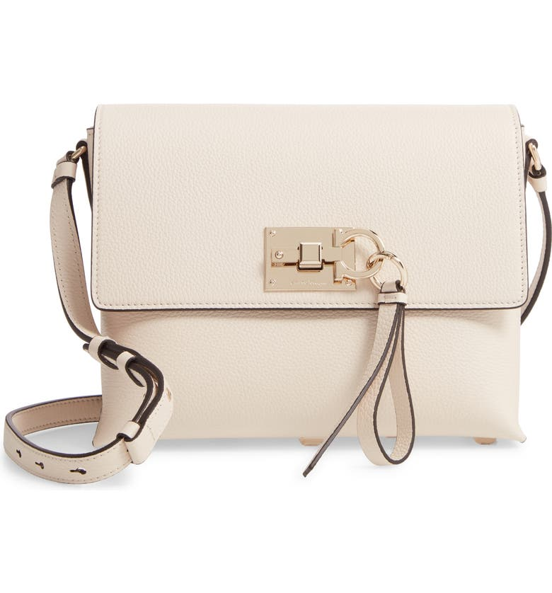 SALVATORE FERRAGAMO Small The Studio Leather Crossbody Bag, Main, color, BONE