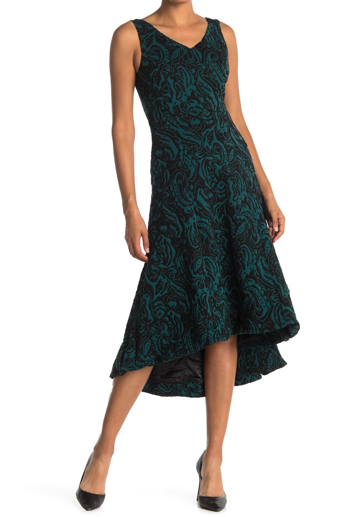 Image of Catherine Catherine Malandrino Paisley V-Neck Fit & Flare High/Low Midi Dress