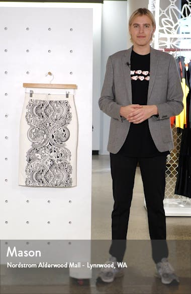 Zinnia Print Pencil Skirt, sales video thumbnail