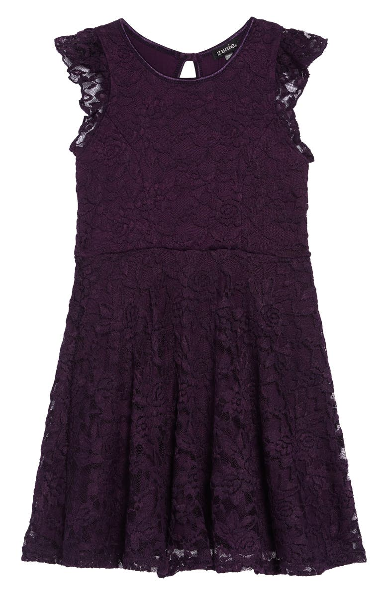 ZUNIE Ruffle Lace Skater Dress, Main, color, PLUM