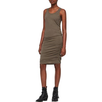 Allsaints Toby Ruched Body-Con Dress, Green