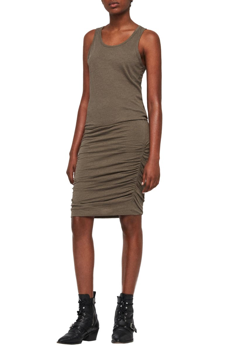 ALLSAINTS Toby Ruched Body-Con Dress, Main, color, KHAKI GREEN
