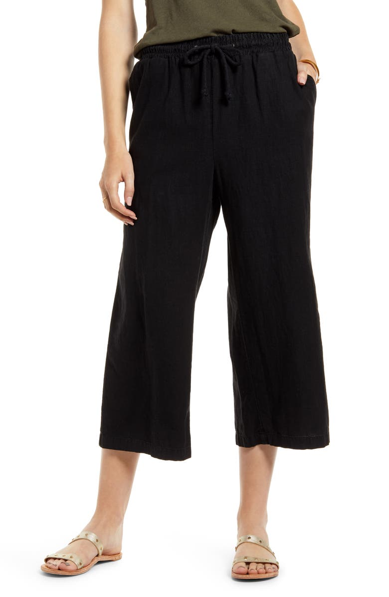 TREASURE & BOND Drawstring Wide Leg Crop Linen Blend Pants, Main, color, BLACK