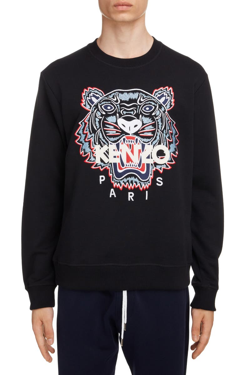 KENZO Classic Tiger Embroidered Crewneck Sweatshirt, Main, color, BLACK