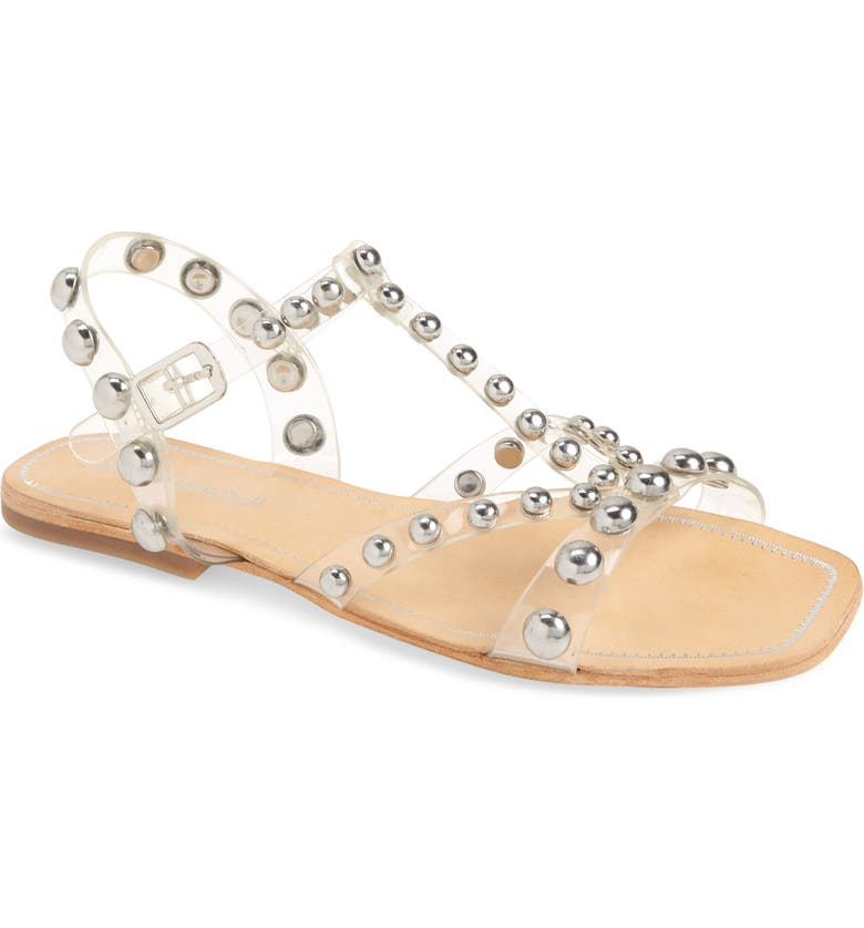 JEFFREY CAMPBELL Amaryl Studded Clear Sandal, Main, color, CLEAR-SILVER