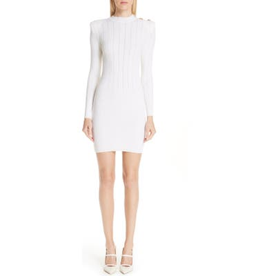 Balmain Shoulder Detail Body-Con Wool Blend Dress, US / 44 FR - White