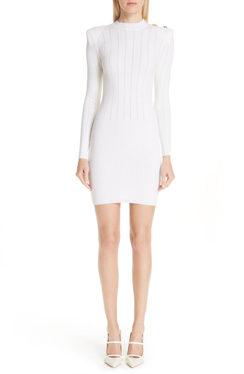 Shoulder Detail Body Con Wool Blend Dress by Balmain
