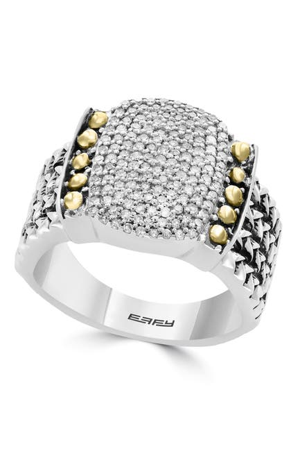 Image of Effy Sterling Silver & 18K Yellow Gold Pave Diamond Ring - Size 7 - 0.39 ctw
