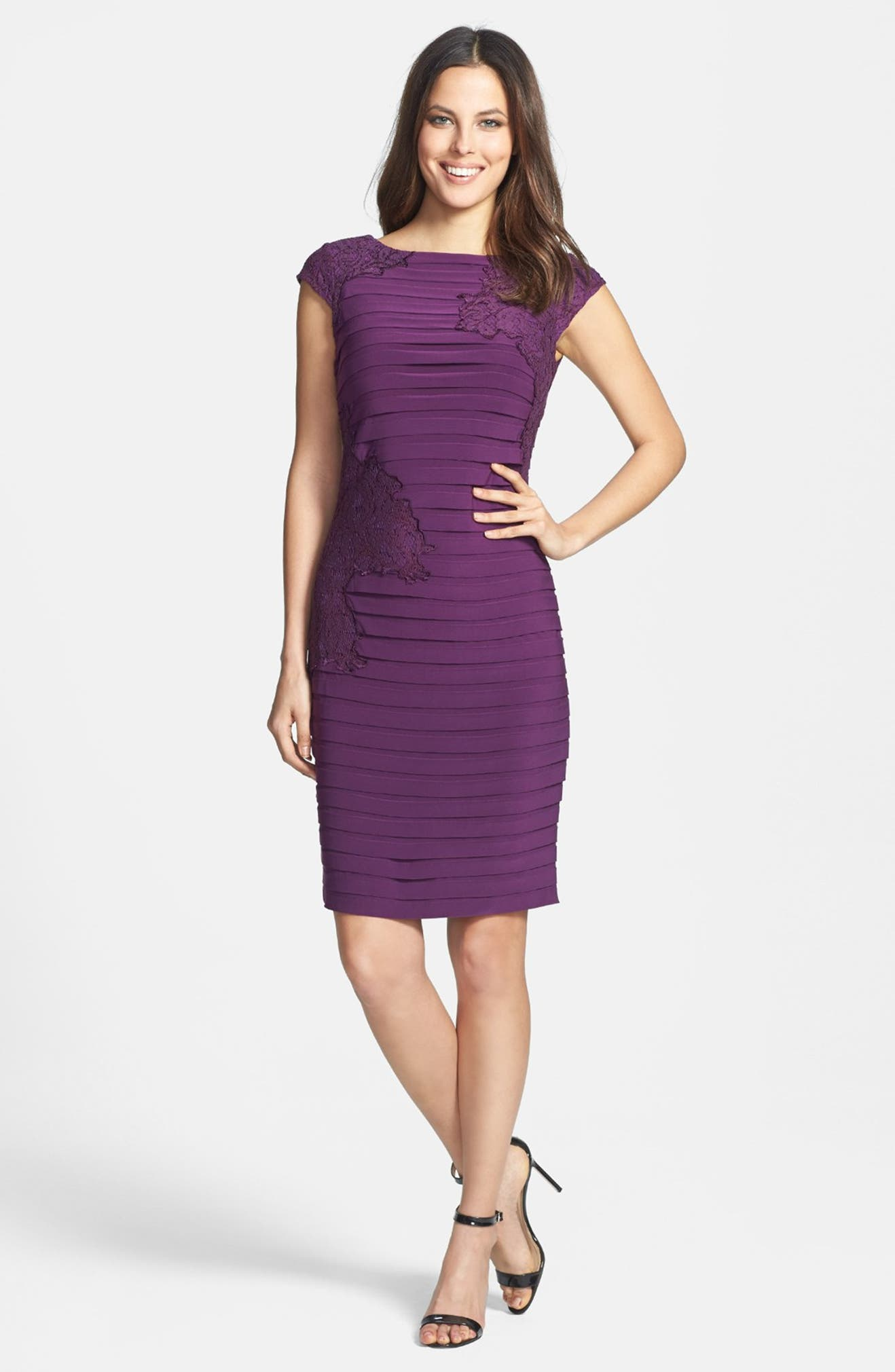 5ae6b1d2 Adrianna Papell Lace Appliqué Banded Jersey Sheath Dress | Nordstrom