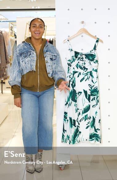 Print Bow Front Hammered Satin Midi Dress, sales video thumbnail