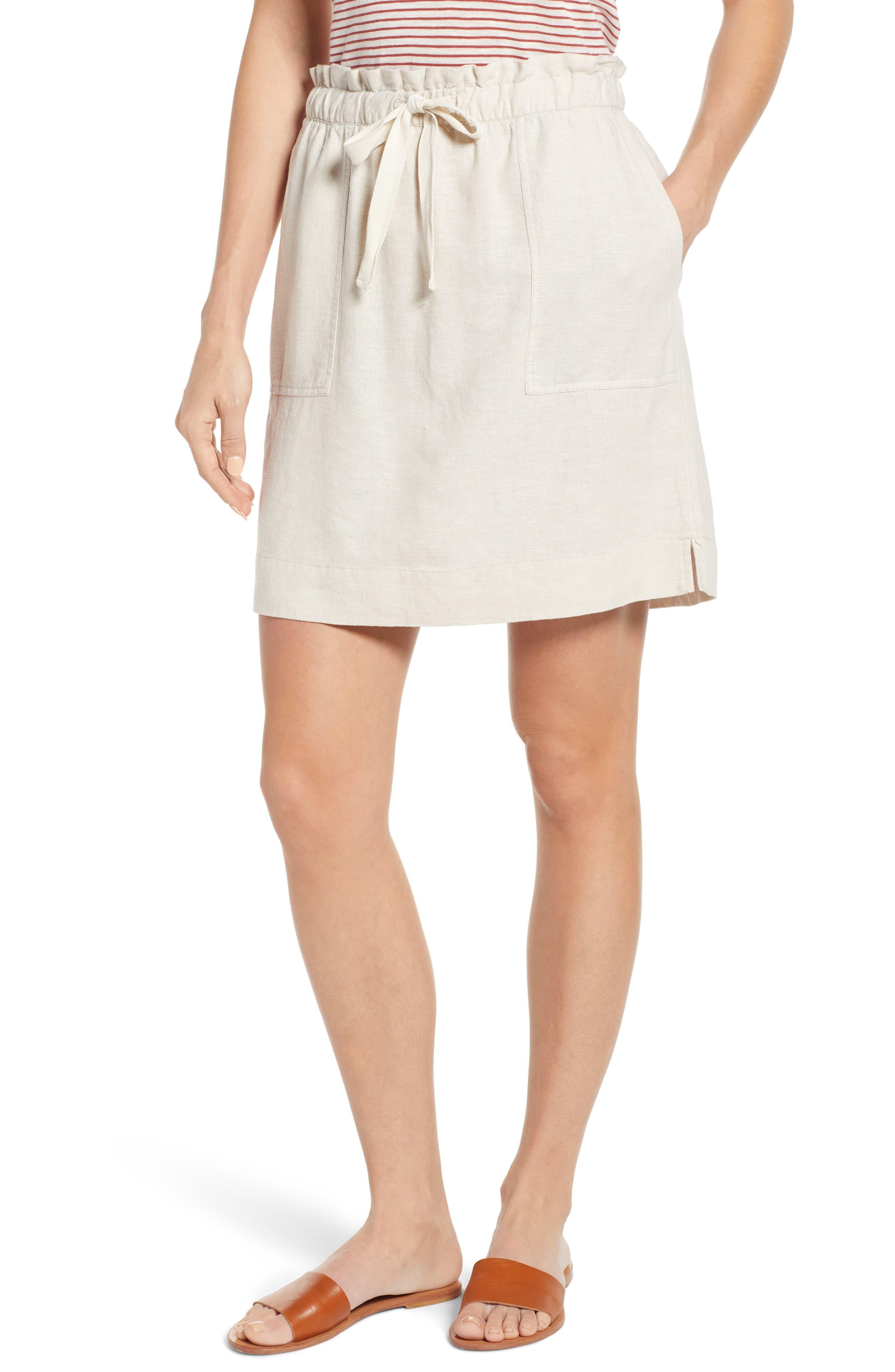 Caslon Paperbag Waist Linen Blend Skirt, Beige