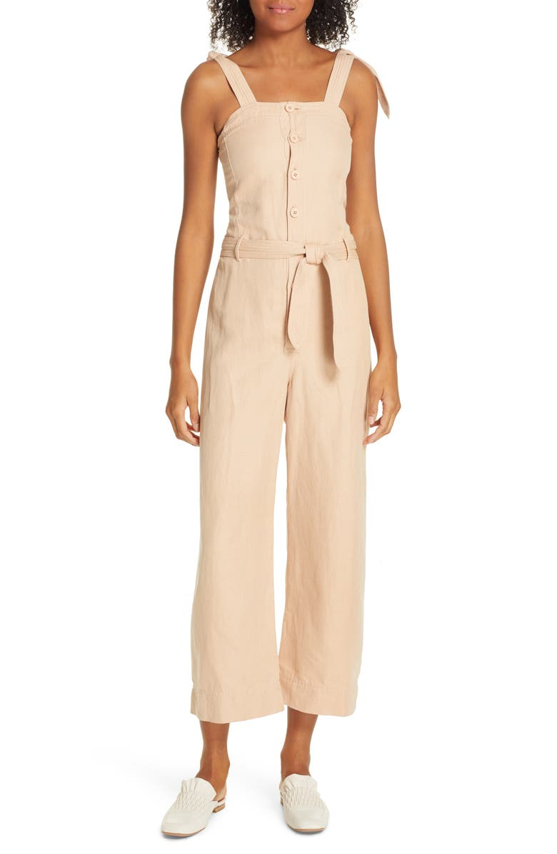 APIECE APART Deia Cotton & Linen Crop Jumpsuit, Main, color, 100
