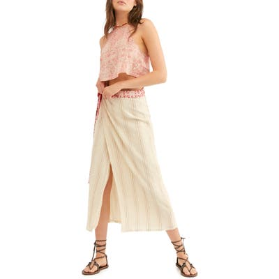 Free People Wrapped Around You Crop Top & Midi Skirt, Beige