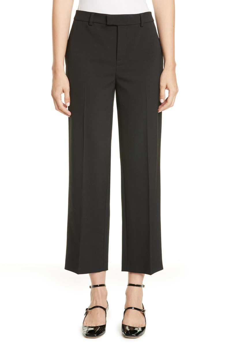 RED VALENTINO Crop Trousers, Main, color, BLACK